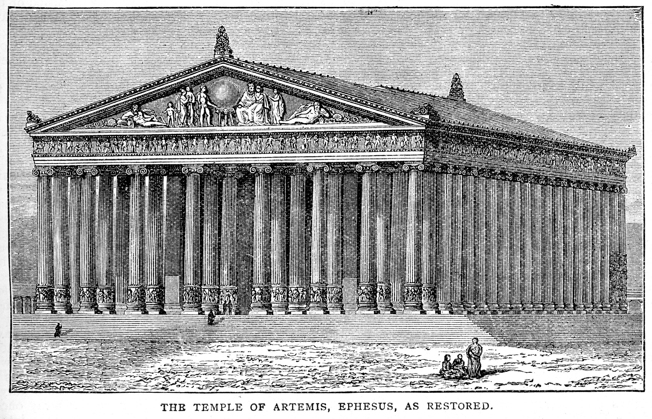 Vintage engraving shows the Temple of Artemis at Ephesus. (iStock Photo)