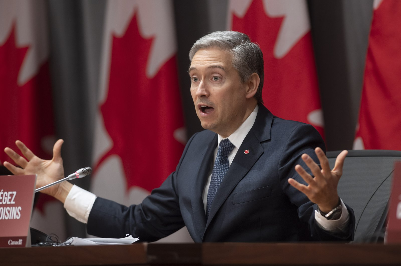 Foreign Affairs Minister Francois-Philippe Champagne gestures as he responds to a question at a news conference in Ottawa, Canada, April 2, 2020. (The Canadian Press via AP)