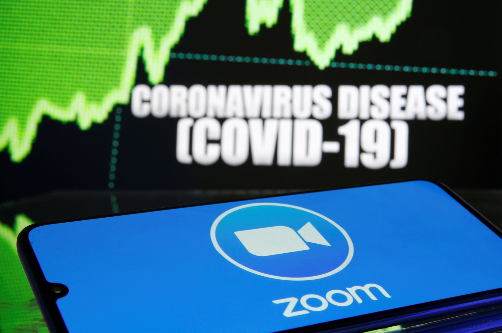The Zoom logo is seen in front of a COVID-19-related image in this photo taken March 19, 2020. (Reuters Photo)
