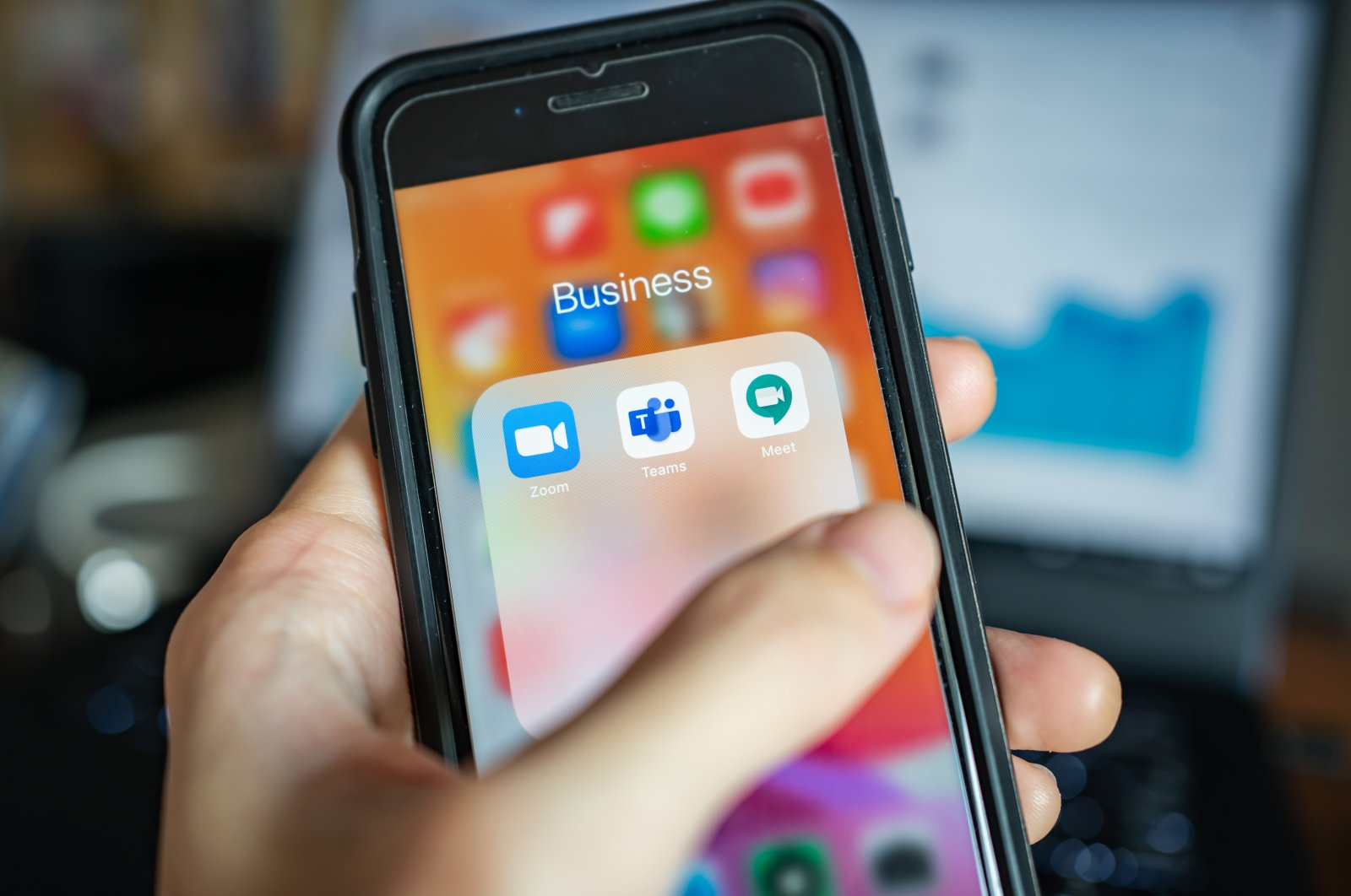 An iPhone 7 smartphone is seen with popular online meeting applications Zoom, Microsoft Teams and Google Meet, Bangkok, Thailand, April 1, 2020. (iStock Photo)