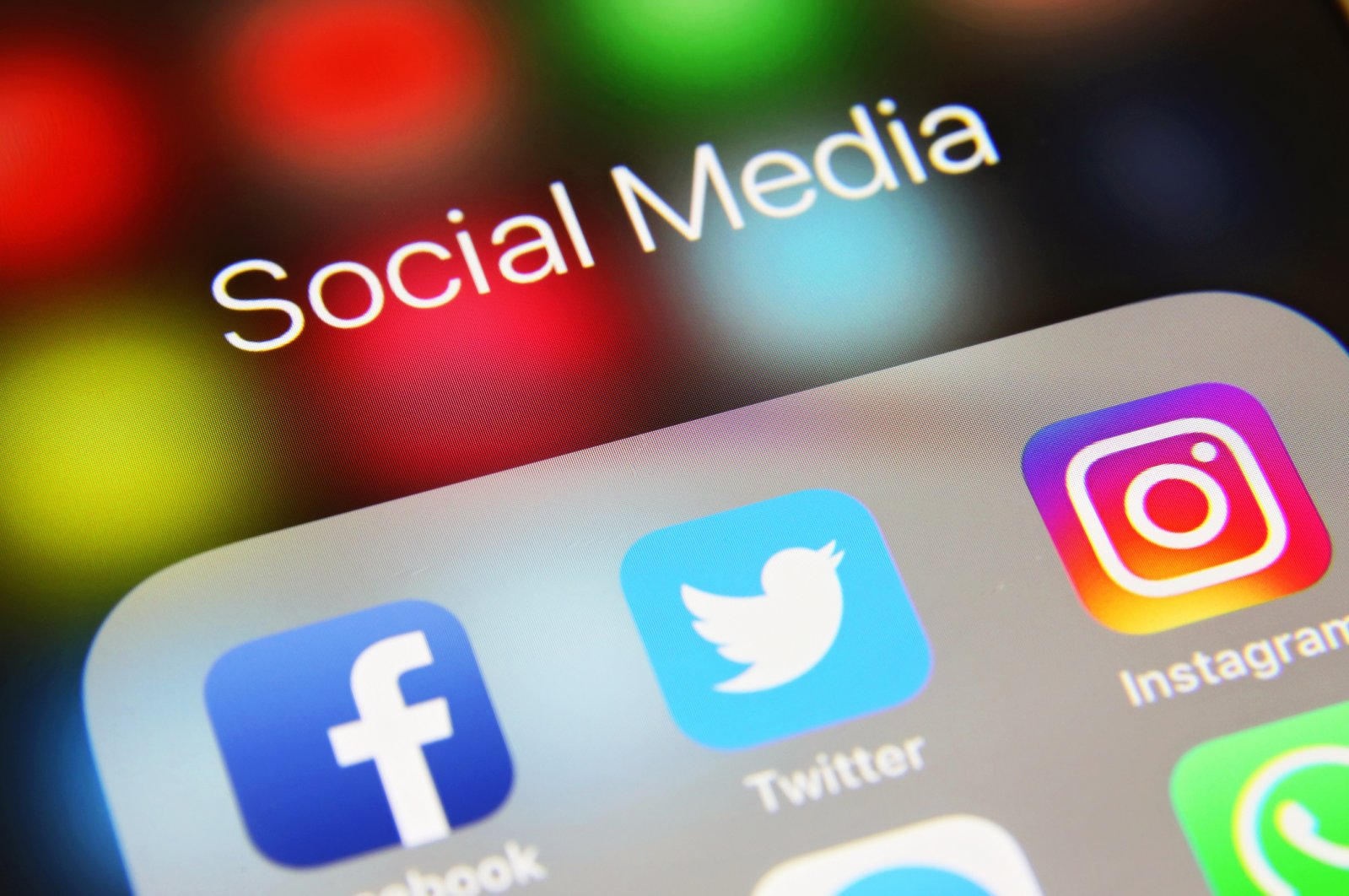 A mobile phone screen with social media icons applications Facebook, Twitter, Instagram and WhatsApp, London, U.K., June 2, 2019. (iStock Photo)