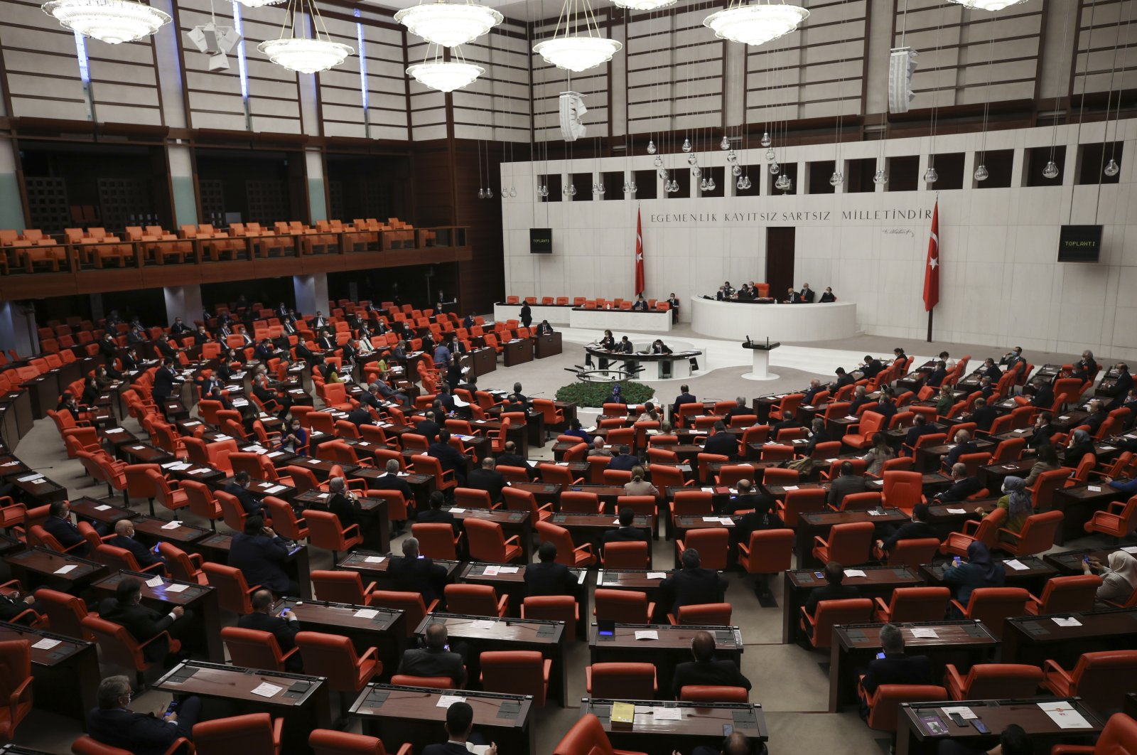 The Grand National Assembly of Turkey approves the first 10 articles of the enforcement law, Ankara, Turkey, April 9, 2020. (AA Photo)