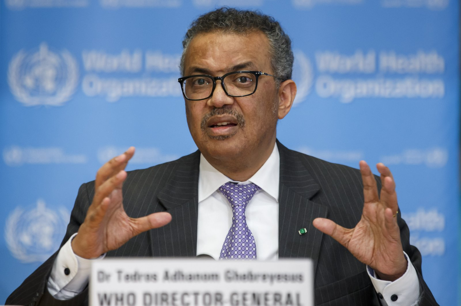 Tedros Adhanom Ghebreyesus, director-general of the World Health Organization speaks during a news conference on updates regarding COVID-19, at the WHO headquarters in Geneva, Switzerland, March 9, 2020. (AP Photo)