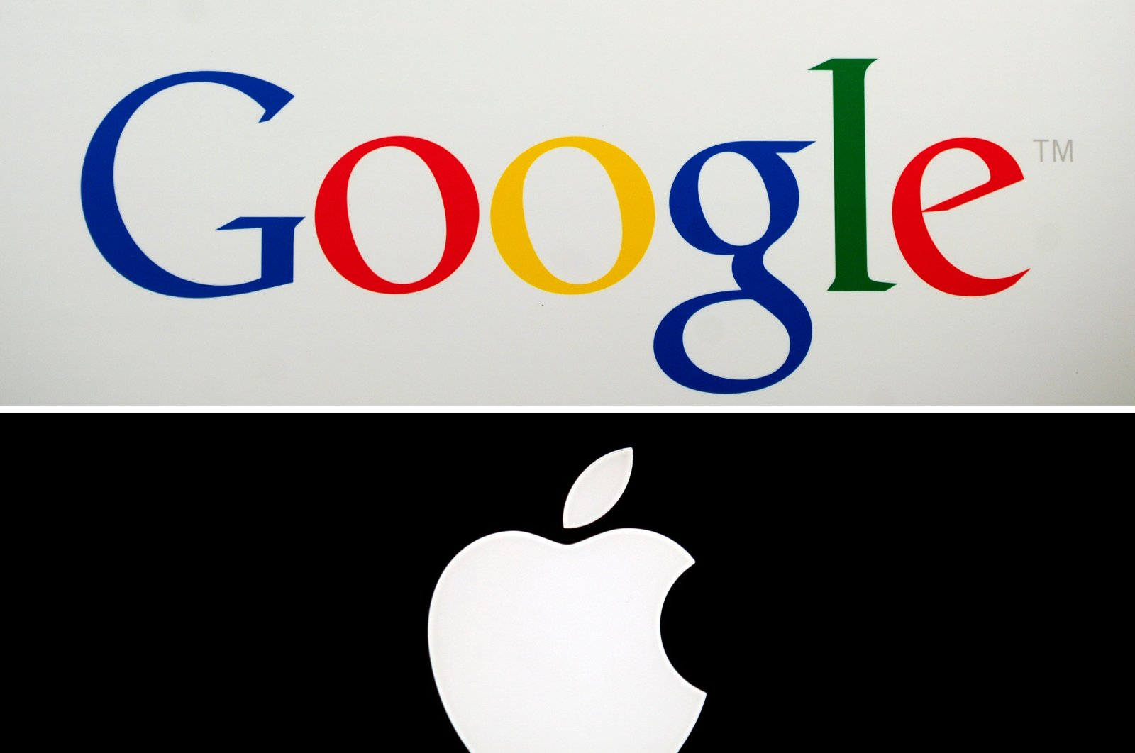 In this combo file photo taken on May 17, 2014, shows Google's logo (top) in New York on May 21, 2012, and Apple's logo in Paris on January 27, 2010. (AFP Photo)