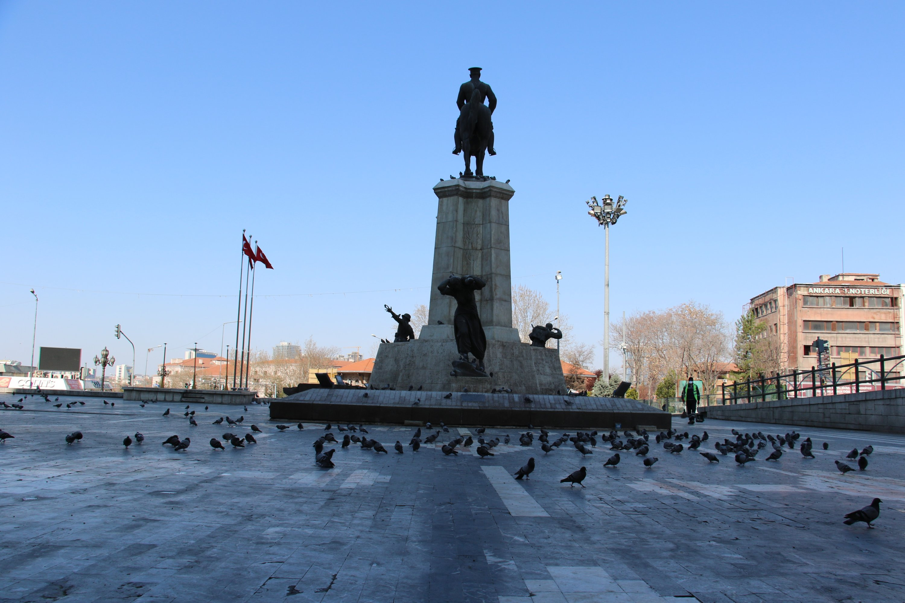 Ankara's main Ulus square, one of the places most activity observed in the city in normal days, remains emtpy, April 11, Ankara. (İHA Photo)