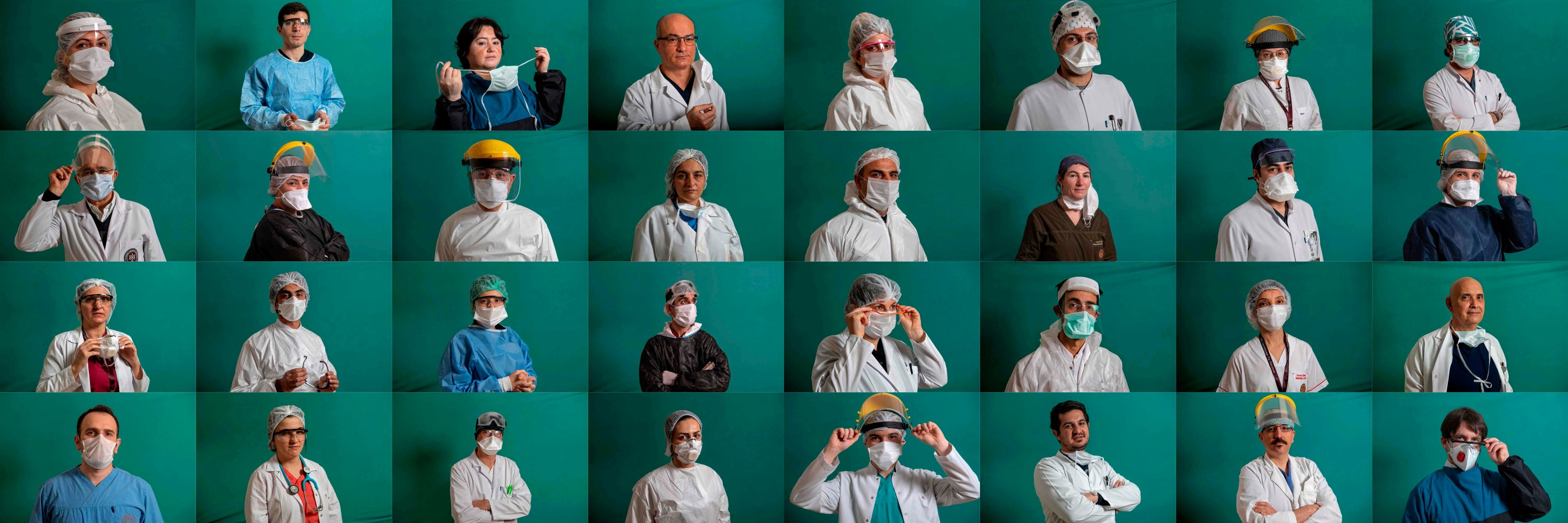 This combination of 32 pictures created on April 6, 2020 shows medical staffers on the frontline treating patients of the COVID-19 pandemic posing during a photo session at the Istanbul University Cerrahpaşa Medical Faculty Hospital.