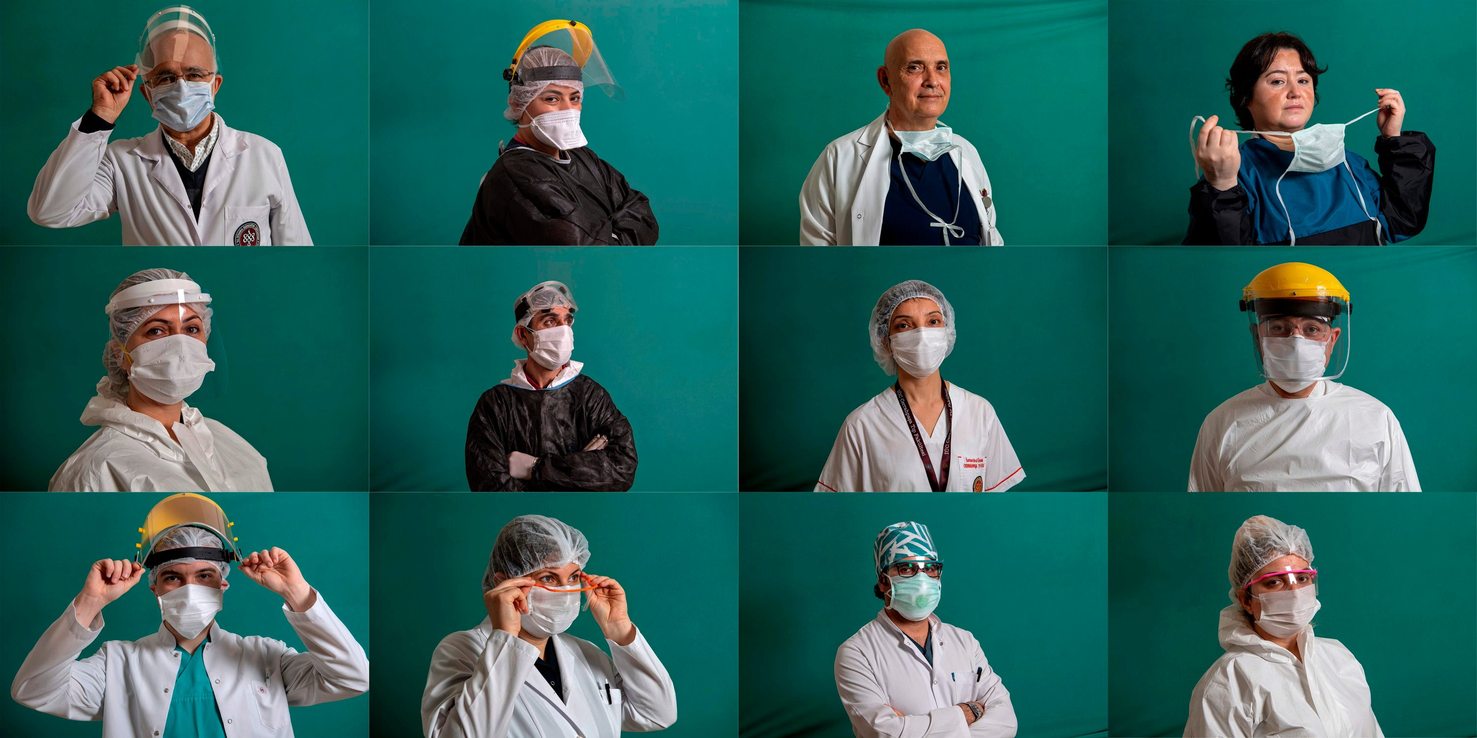 This combination of 12 pictures created on April 6, 2020 shows medical staffers on the frontline treating patients of the COVID-19 pandemic: (top L-R) Sait Gönen, 59, professor and dean of the Istanbul University Cerrahpaşa Medical Faculty; Fatma Dinç, 33, a nurse; professor Yalım Dikmen, 56, a doctor as intensive care specialist; Nurgül Tayran, 47, a registered infection control nurse; (middle L-R) Özlem Hatip, 40, a nurse; Mehmet Sakirsahsi, 47, a member of cleaning staff; Semra Kaçar, 44, a nurse; associate professor Kenan Barut, 42, a doctor at the pediatric clinic; (bottom L-R) Gökberk Güler, 28, a doctor; Nilay Şimşek, 43, a chief nurse; Cebrail Karaca, 33, a doctor in the nephrology department; Hatice Değirmenci, 24, a member of cleaning staff, posing during a photo session.