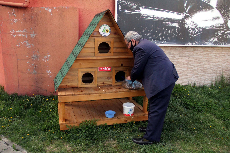 Aydoğan leaves food to a cat shelter in Karaçayır neighborhood, in Bolu, on April 11, 2020. (DHA Photo)