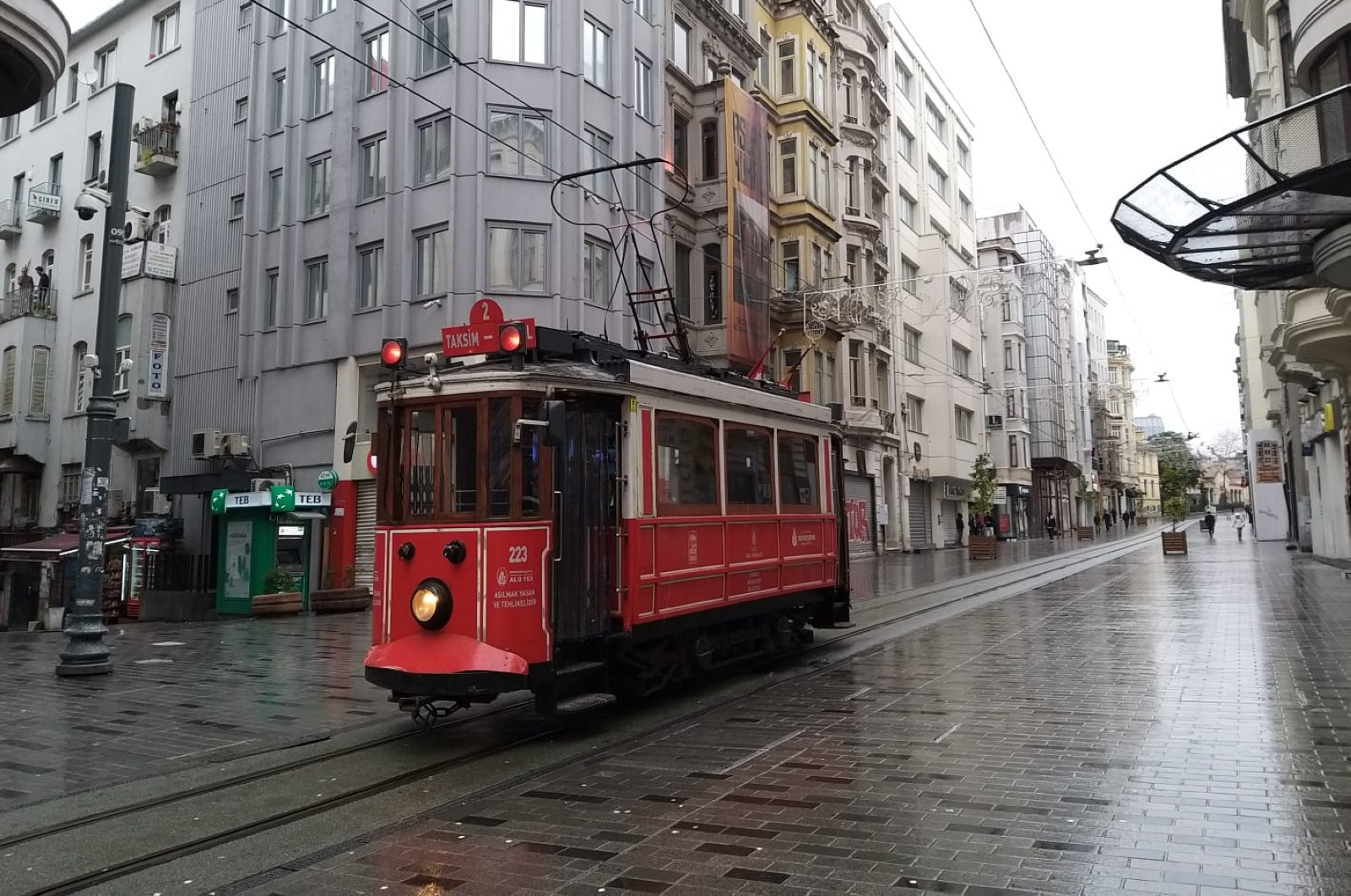 Nostalgic tram in Istanbul's historic İstiklal Avenue, which became empty after curfew, on April 11, 2020.