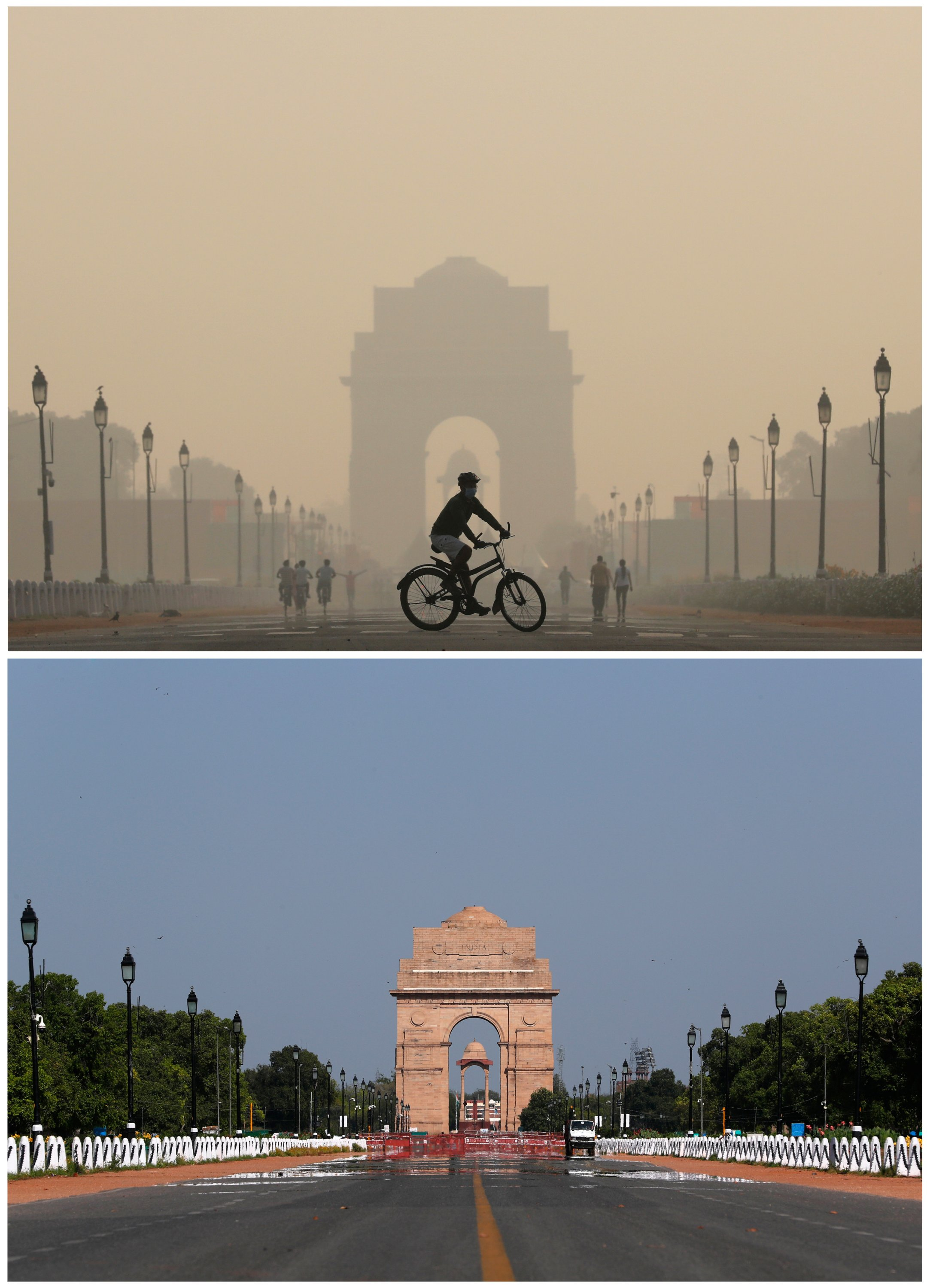 Contrasting photos show the India Gate war memorial on Oct. 17, 2019 (top), and after air pollution levels started to drop during a 21-day nationwide lockdown to slow the spreading of COVID-19, New Delhi, India, April 8, 2020. (Reuters Photo)
