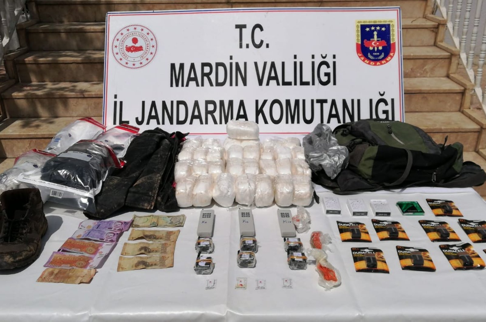 Explosives and other materials belonging to YPG/PKK terrorists confiscated by gendarmerie units in Mardin on Saturday, April 11, 2020 (IHA Photo)