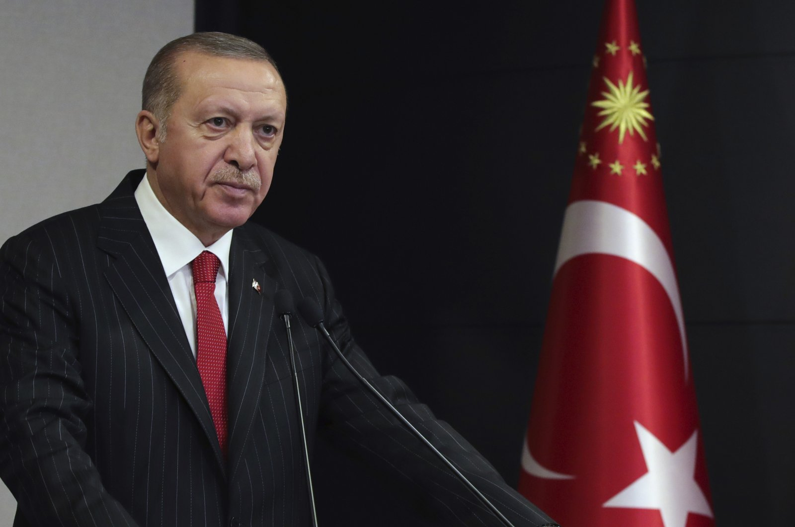 President Recep Tayyip Erdogan addresses the nation regarding the coronavirus outbreak, in Ankara, Turkey, April 6, 2020. (AP Photo)