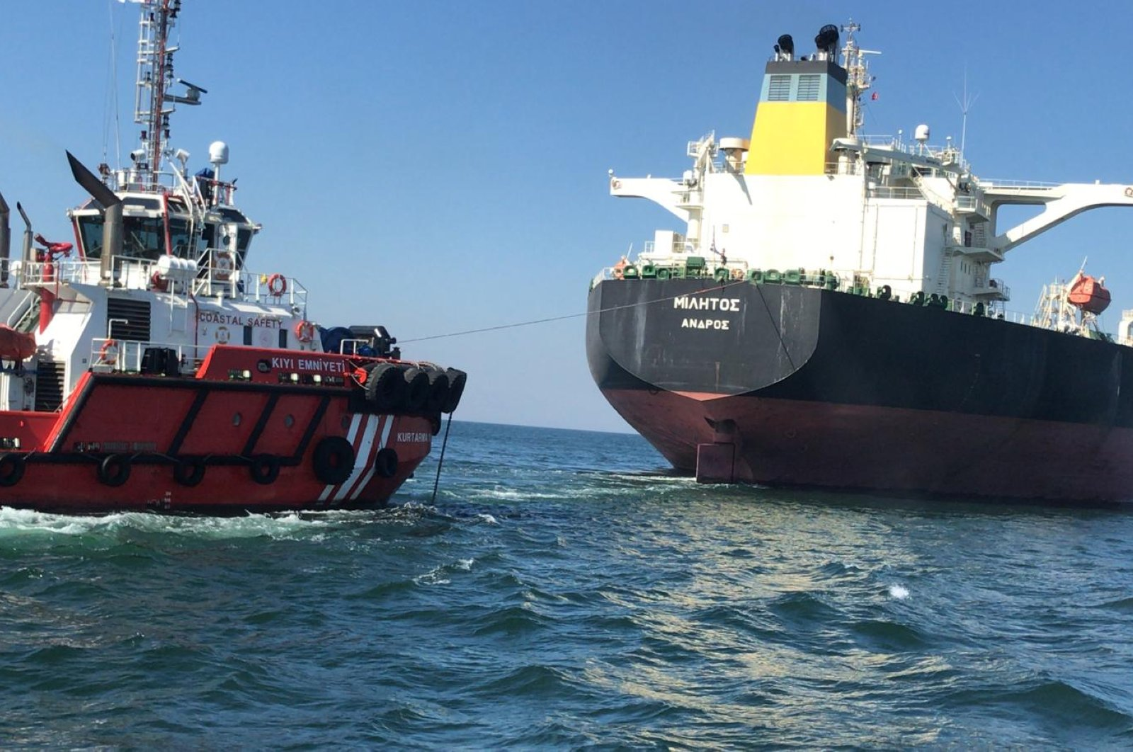 Greek tanker Militos was towed to a safer location where it anchored later, in Istanbul, Turkey, April 12, 2020. (AA Photo)