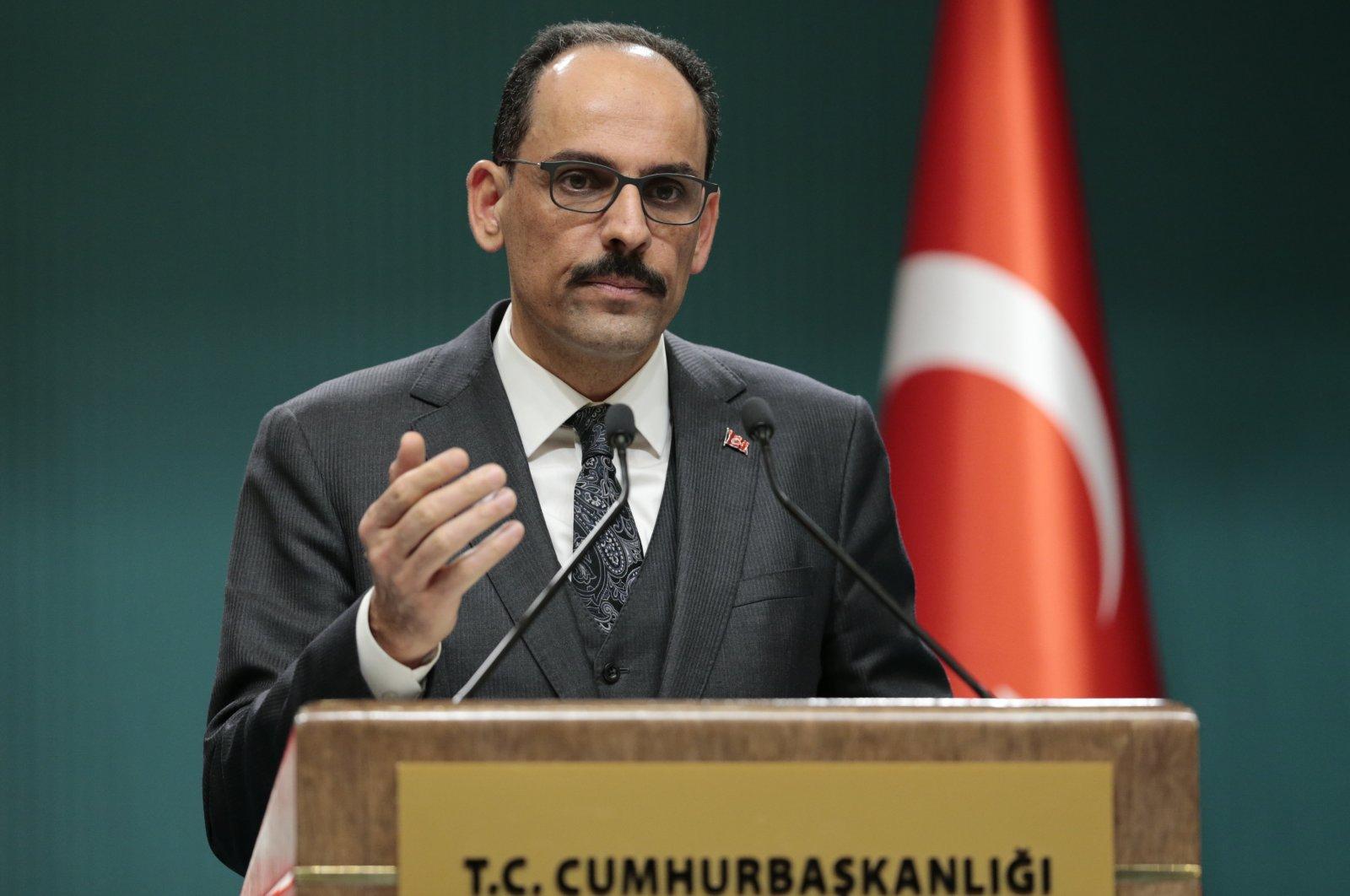 Presidential spokesman İbrahim Kalın speaks during a news conference, Ankara, Turkey, March 12, 2020. (AA Photo)