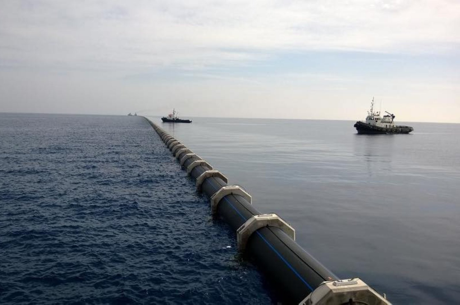 Part of the pipeline carrying fresh water from Turkey to the Turkish Republic of Northern Cyprus (TRNC), Oct. 19, 2015. (AA Photo)