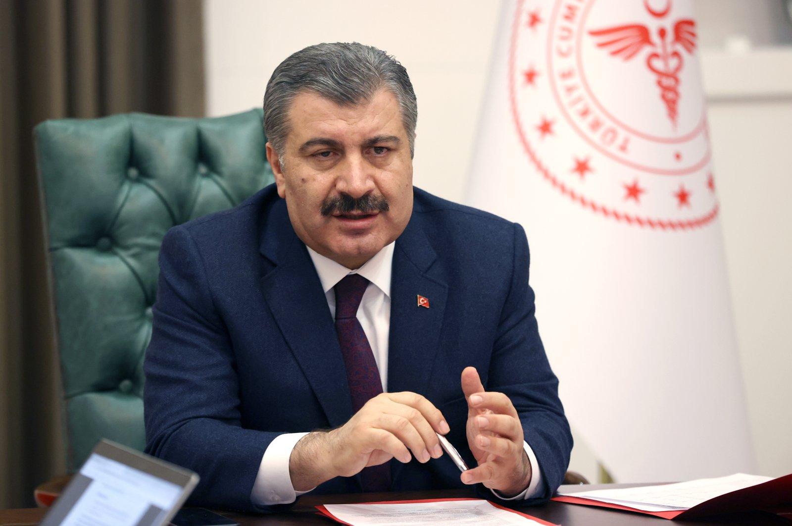 Turkish Health Minister Fahrettin Koca speaks at a press conference in Ankara, Turkey, April 11, 2020. (AA Photo)