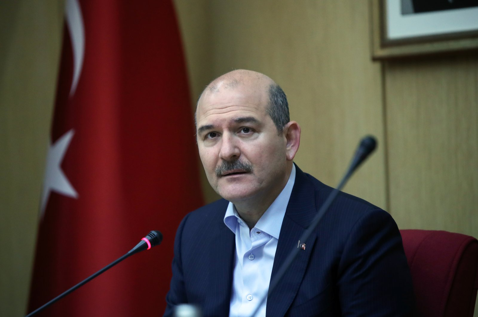 Interior Minister Süleyman Soylu speaks at a news conference in Ankara, Turkey, April 12, 2020. (AA Photo)