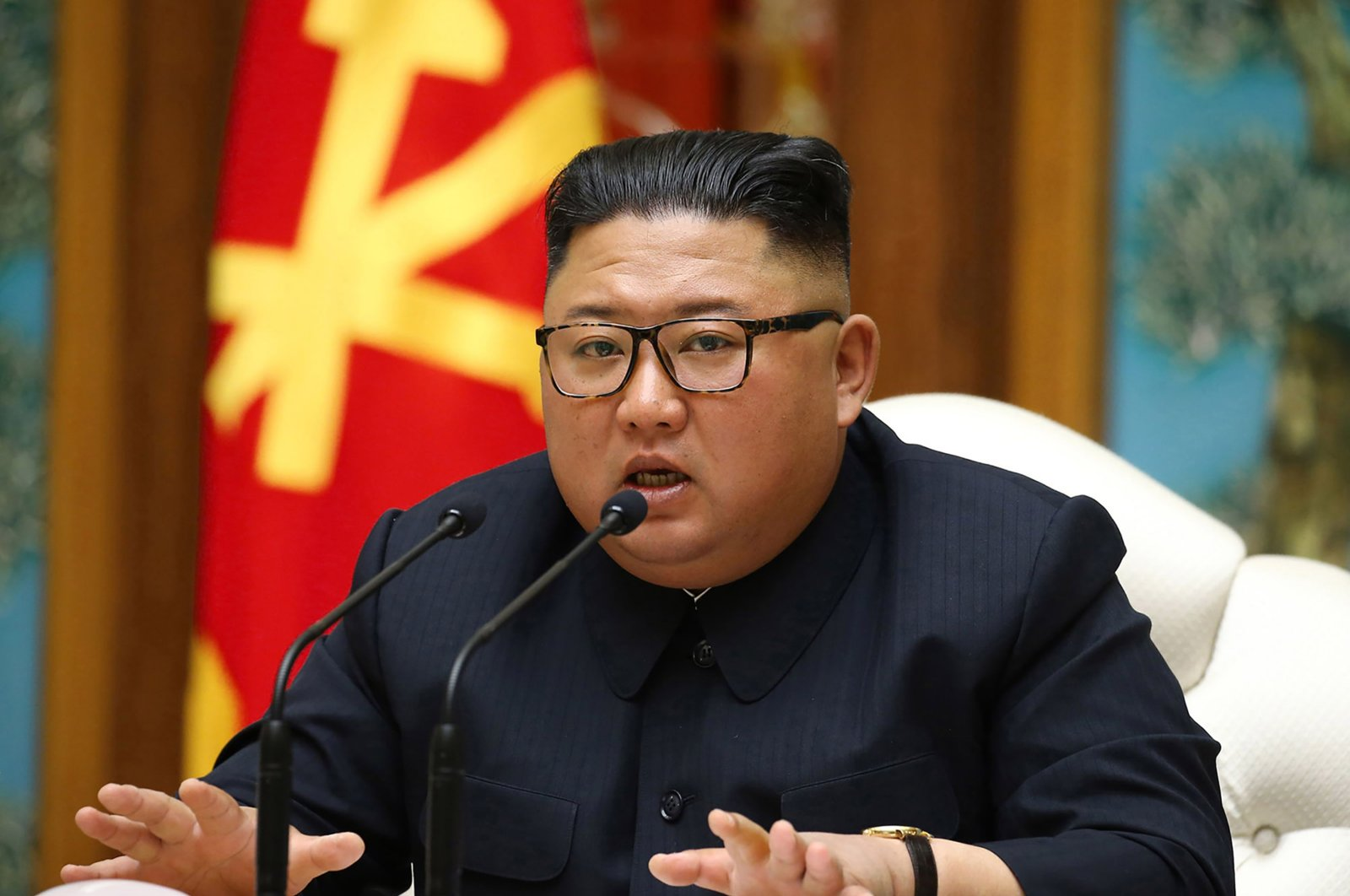 North Korean leader Kim Jong Un speaks during a meeting of the Political Bureau of the Central Committee of the Workers' Party of Korea (WPK), Pyongyang, North Korea, April 11, 2020. (AFP Photo)