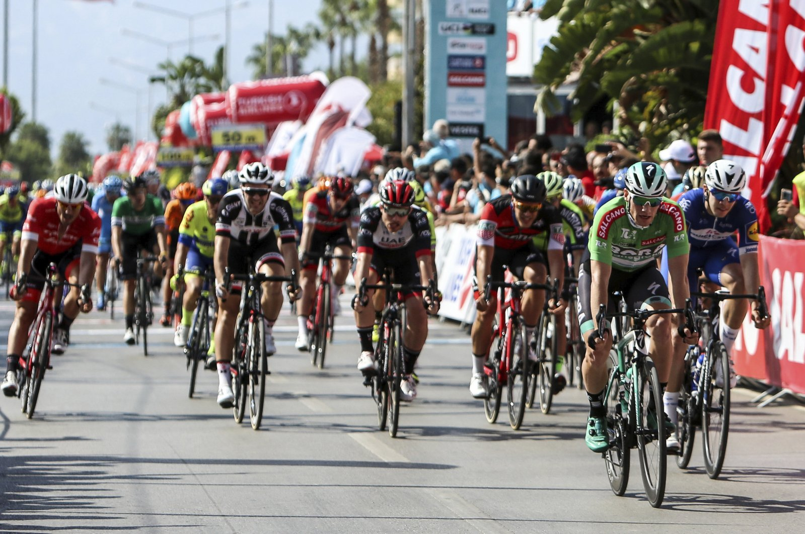 In this undated photo, cyclists compete in the Presidential Cycling Tour in Antalya, Turkey. (DHA Photo)
