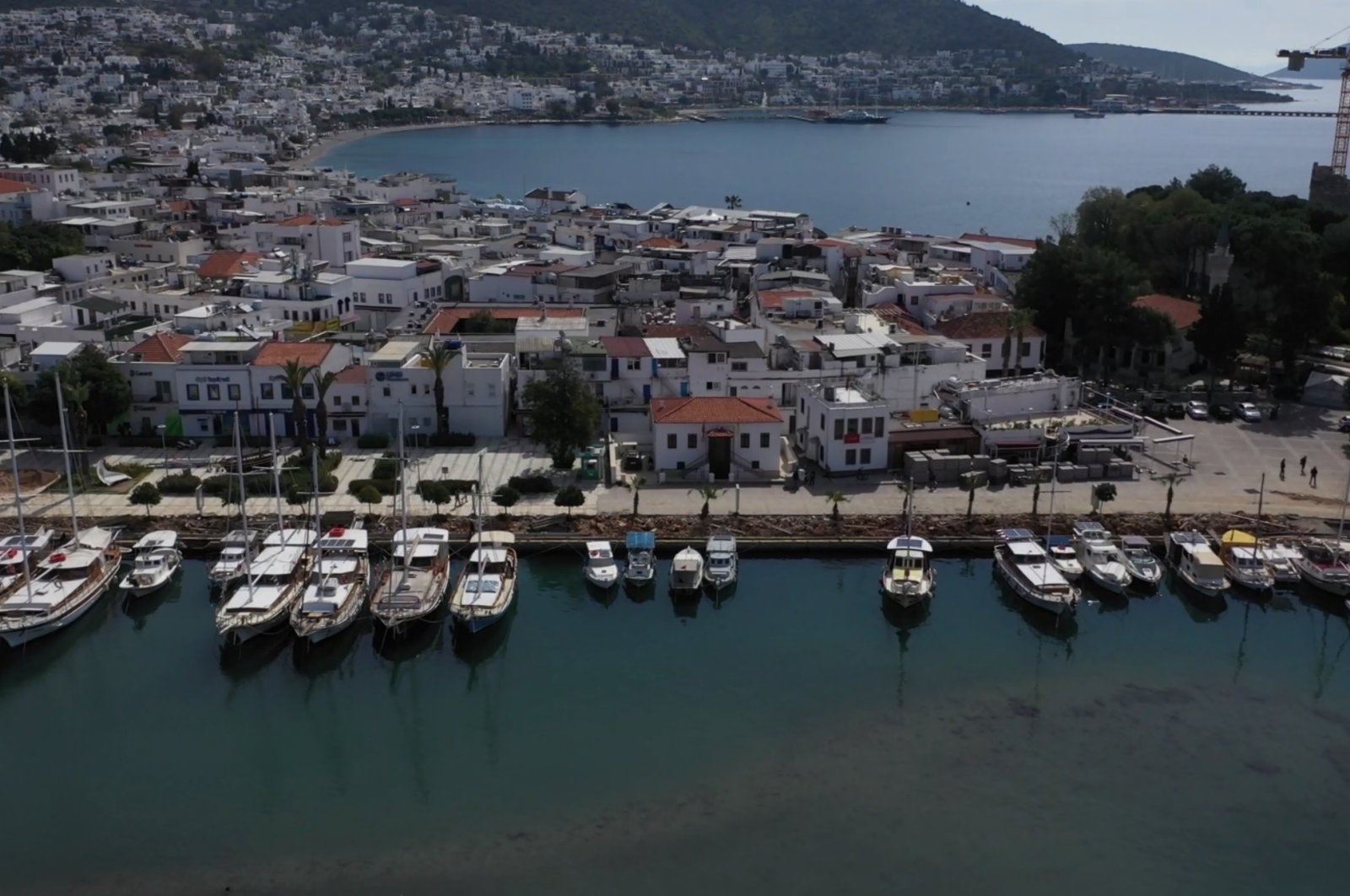 A view of deserted Turkey's southwestern Muğla's Bodrum district, a famous spot for tourists, during the coronavirus outbreak, April 1, 2020. (AA Photo)