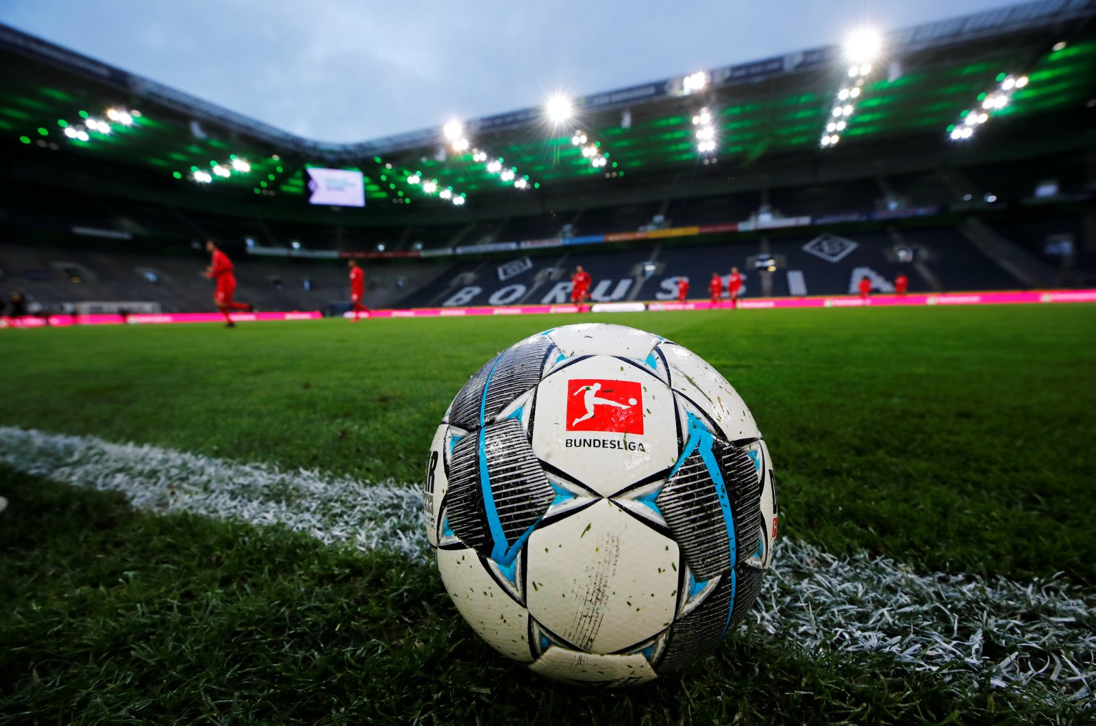 General view of a match ball during the warm up before the match between Borussia Mönchengladbach and FC Cologne, Borussia-Park, Mönchengladbach, Germany, March 11, 2020 (Reuters File Photo)