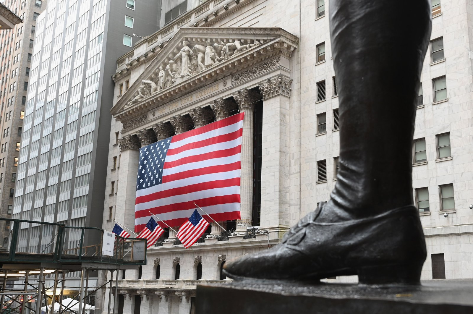 The New York Stock Exchange is seen on Wall Street in New York City, March 23, 2020. (AFP Photo)