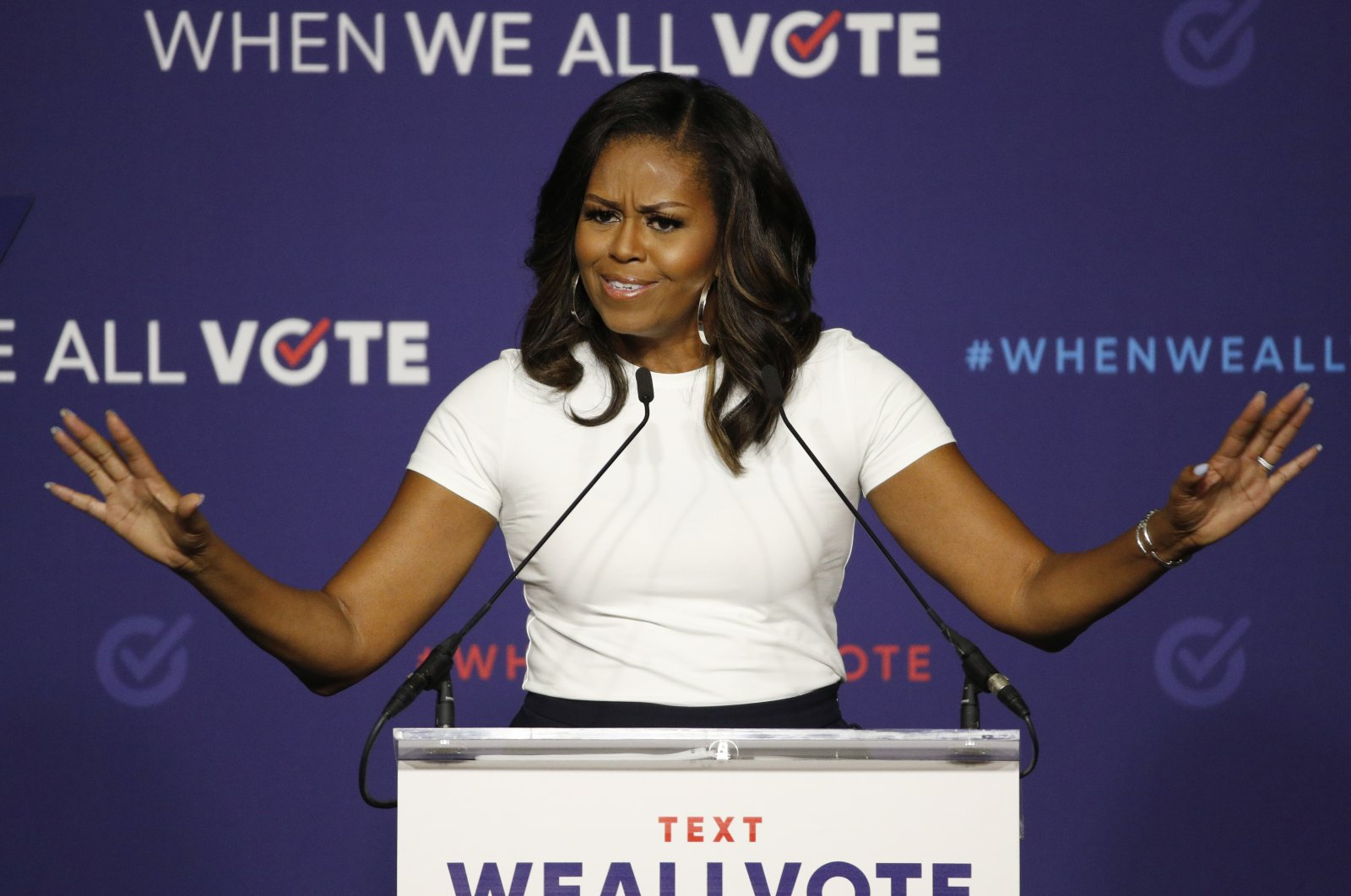 Former first lady Michelle Obama speaks at a rally to encourage voter registration in Las Vegas, Sept. 23, 2018. (AP Photo)