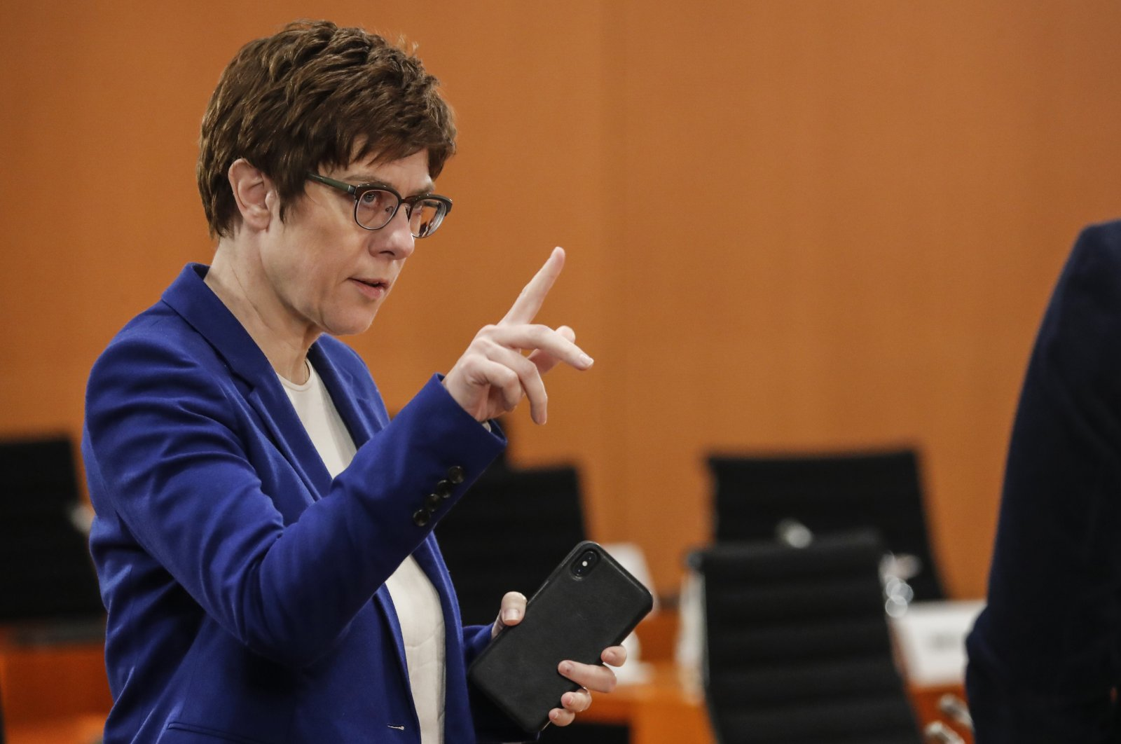 German Defense Minister Annegret Kramp-Karrenbauer gestures prior to the weekly Cabinet meeting at the Chancellery in Berlin, Germany, April 1, 2020. (AP Photo)