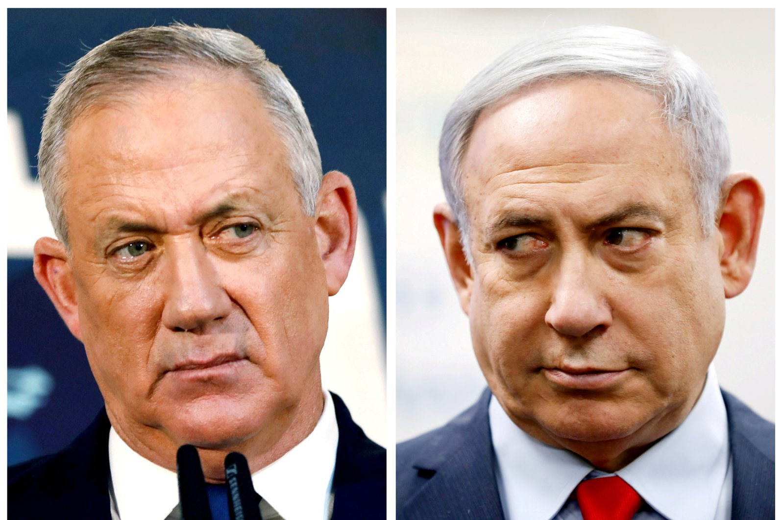 A combination picture shows Benny Gantz, leader of Blue and White party, in Tel Aviv, Nov. 23, 2019 and Israeli Prime Minister Benjamin Netanyahu in Kiryat Malachi, March 1, 2020. (REUTERS Photo)