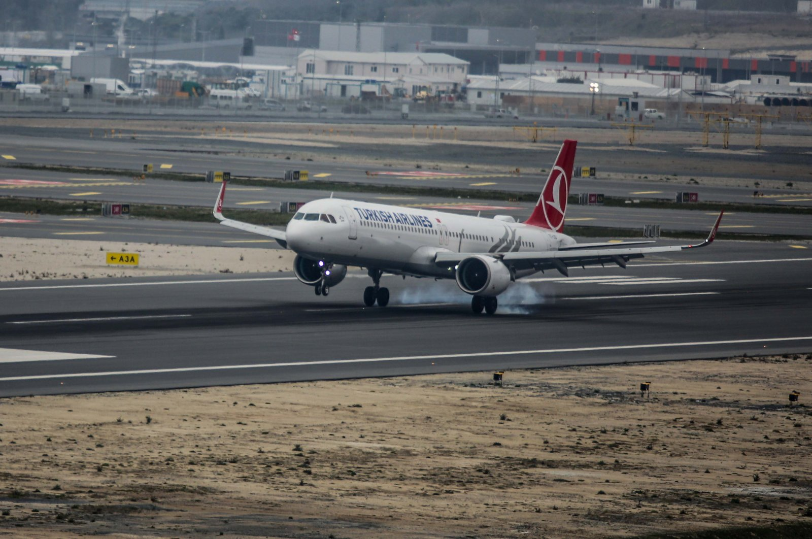 A Turkish Airlines aircraft lands at Istanbul Airport, April 6, 2019.