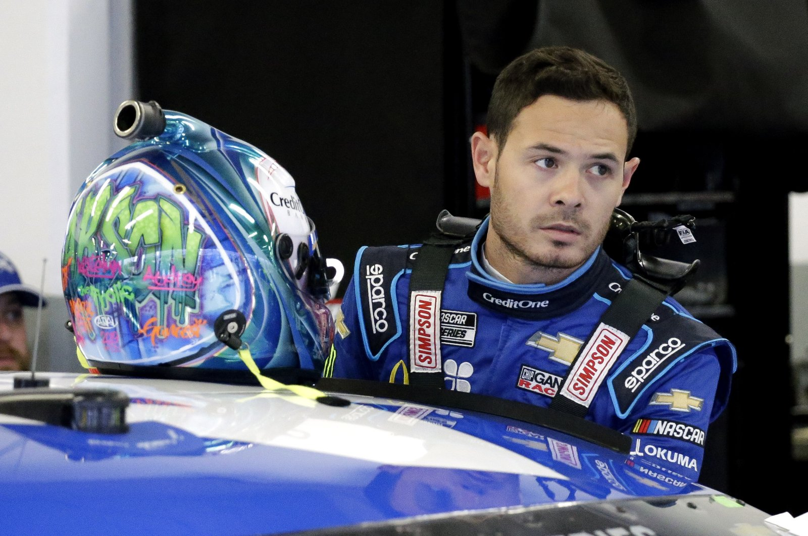 Kyle Larson during practice for the NASCAR Daytona 500 race in Daytona Beach, Feb. 14, 2020. (AP Photo)