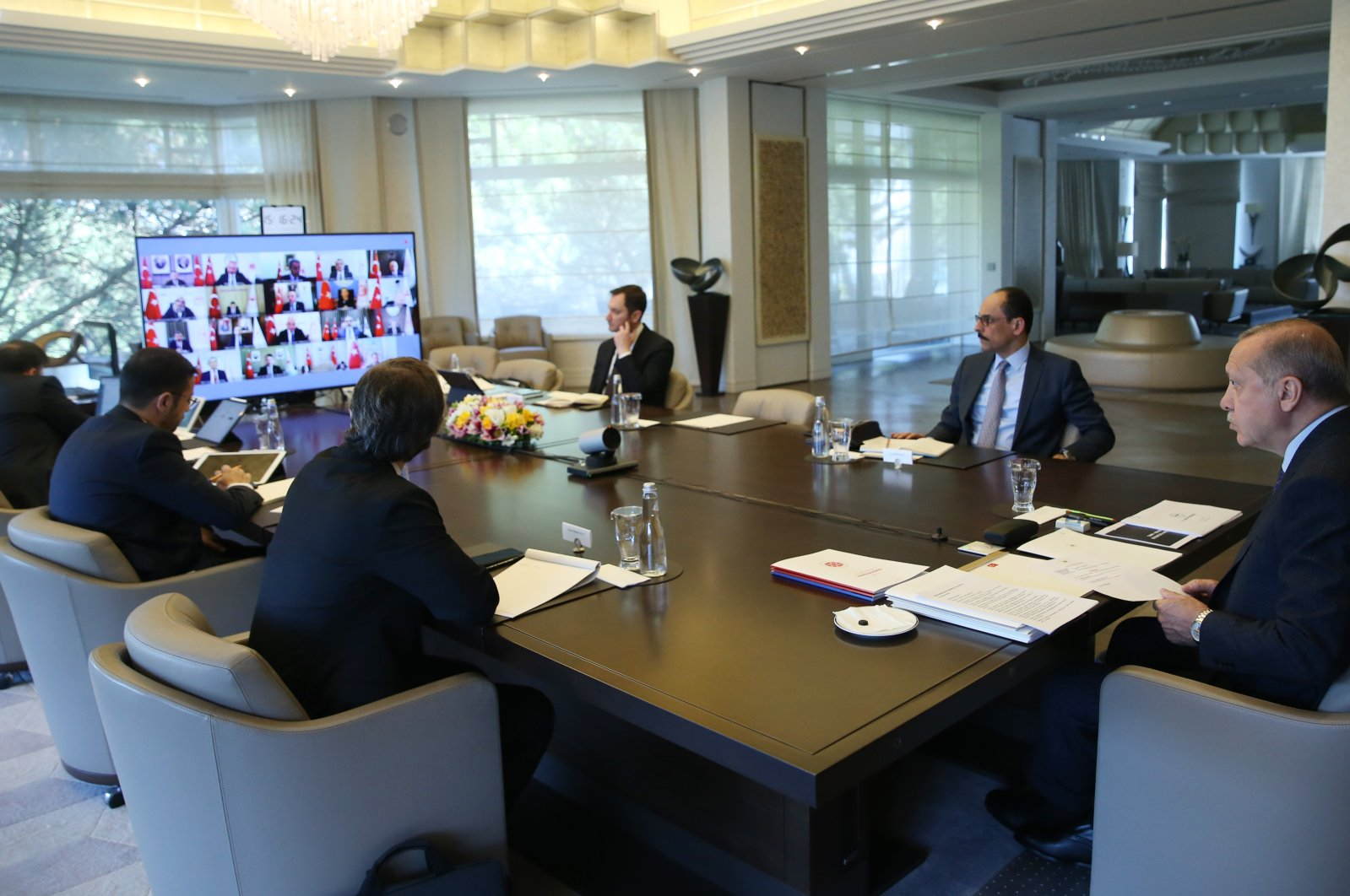 President Recep Tayyip Erdoğan chairs a Cabinet meeting via videoconference, April 13, 2020. (AA Photo)