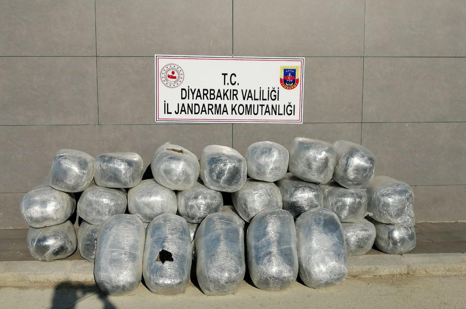 Seized marijuana on display at gendarme command headquarters in Diyarbakır, Turkey, Tuesday, April 14, 2020. (AA Photo)