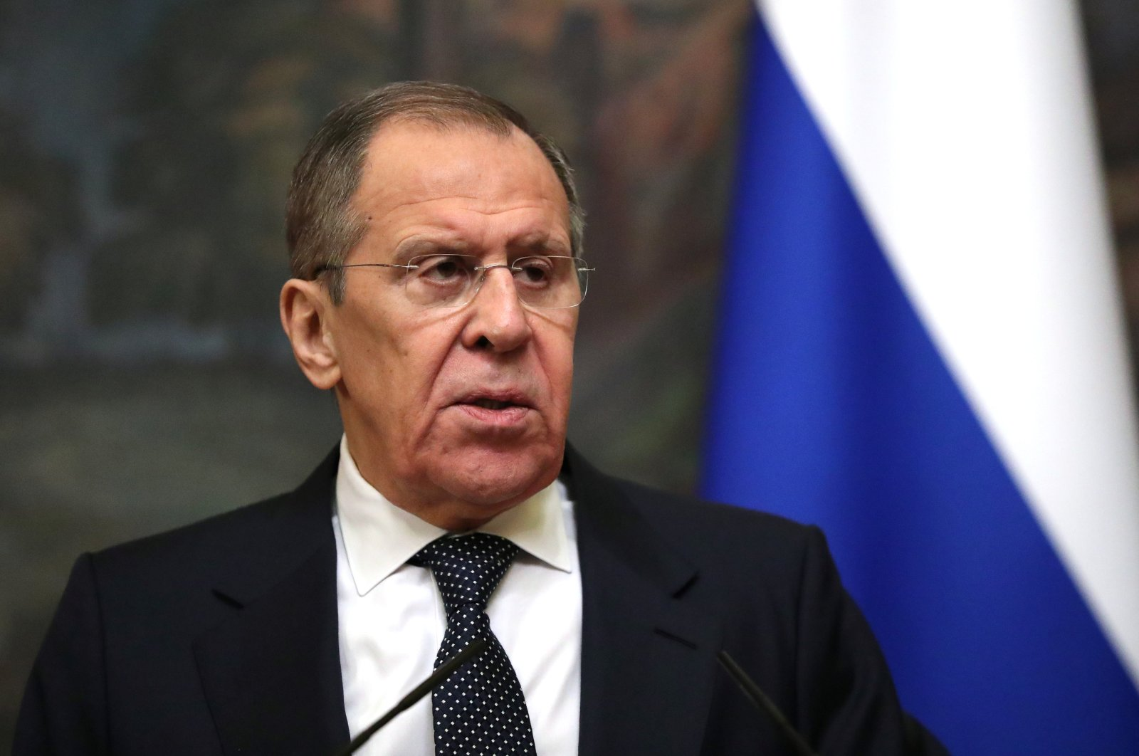 Russian Foreign Minister Sergei Lavrov attends a news conference with his Jordanian counterpart Ayman Safadi following their talks in Moscow, Russia February 19, 2020. (Reuters Photo)