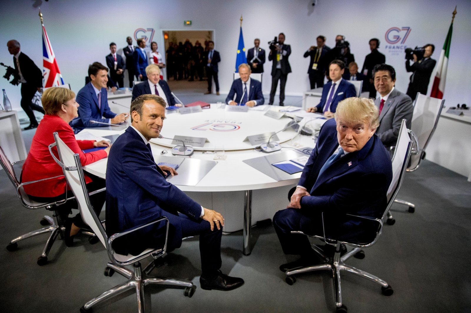 Leaders of G-7 countries participate in a working session on the global economy, foreign policy and security affairs at the G-7 Summit in Biarritz, France, Aug. 25, 2019. (Reuters Photo)