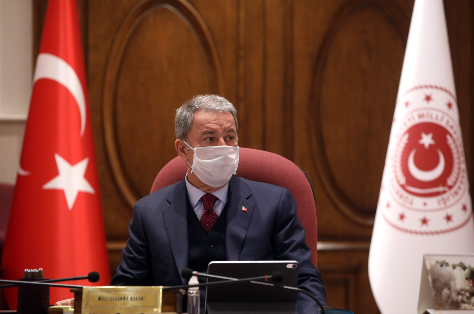 Defense Minister Hulusi Akar during a meeting with top military officials, April 14, 2020. (AA Photo)