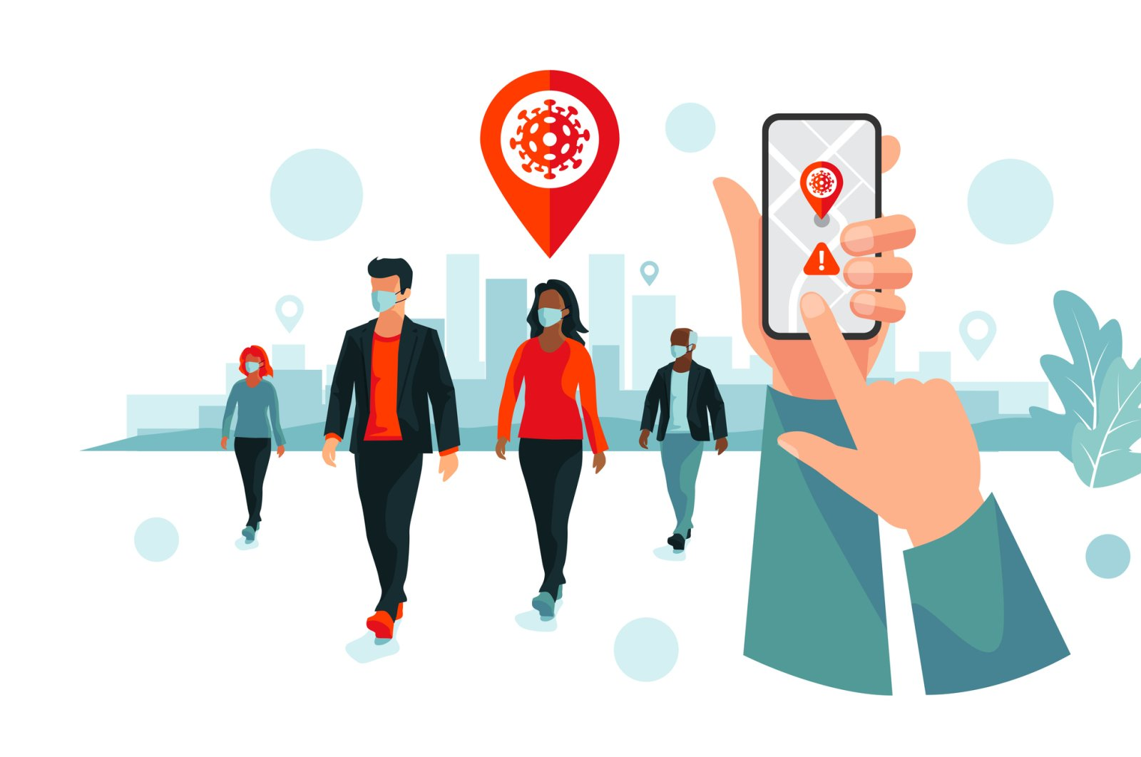 An illustration showing smartphone coronavirus tracking location app with people wearing protection face mask to prevent infection. (iStock Photo)