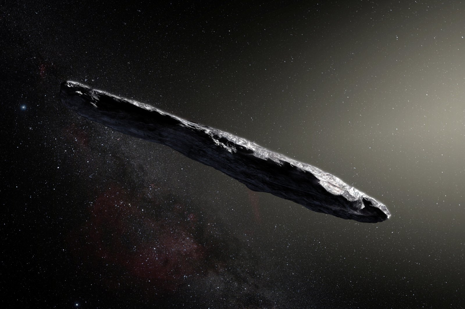 This artist's impression shows the first-known interstellar object to visit the solar system, 'Oumuamua, which was discovered in 2017. (Reuters Photo)