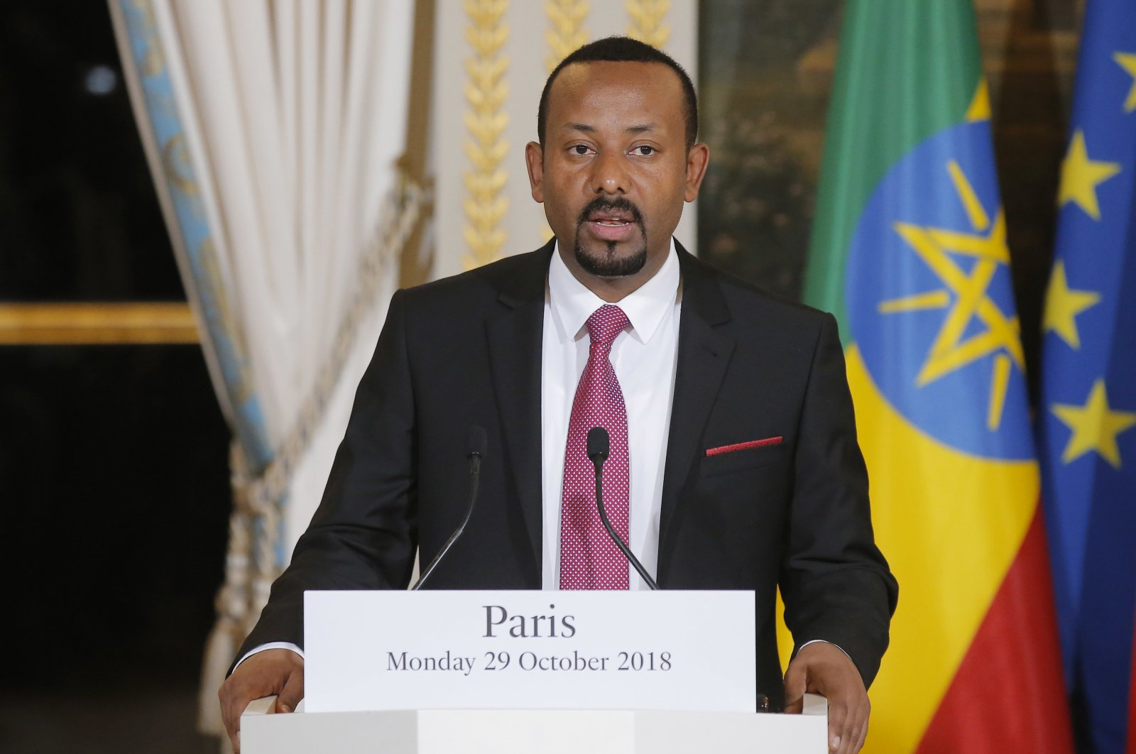Ethiopian Prime Minister Abiy Ahmed speaks during a news conference at the Elysee Palace in Paris, France, Monday, Oct. 29, 2018. (AP File Photo)