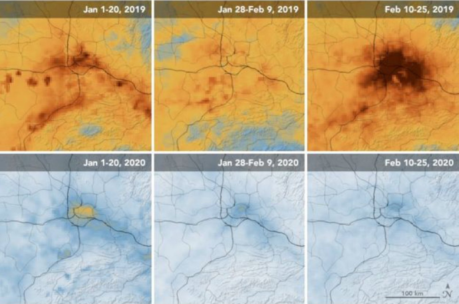NASA footage shows pollution levels in Wuhan, China
