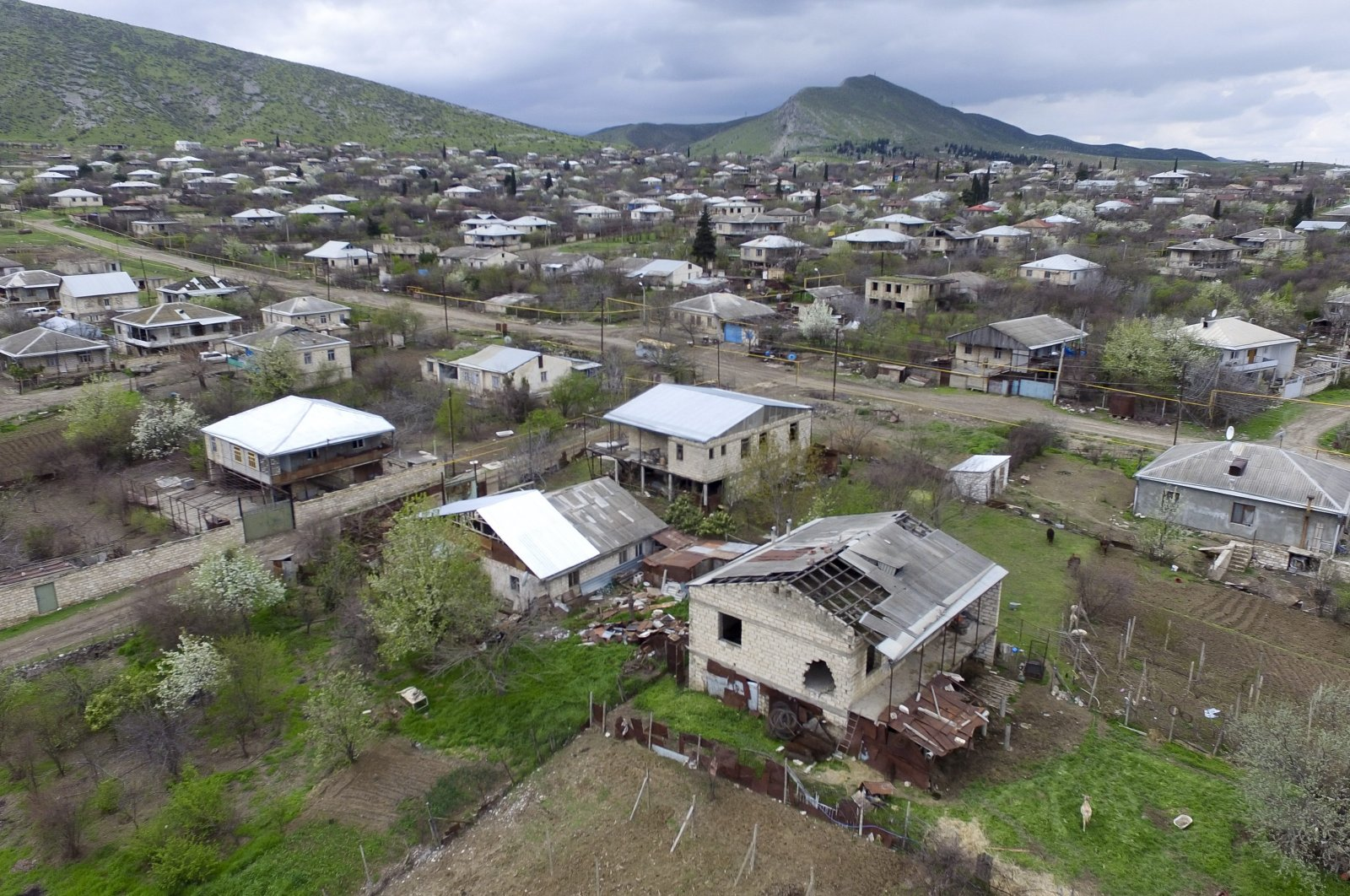 This aerial view shows destroyed houses during the fighting at Martakert province in the separatist region of Nagorno-Karabakh, Azerbaijan, April 4, 2016. (PAN Photo via AP)