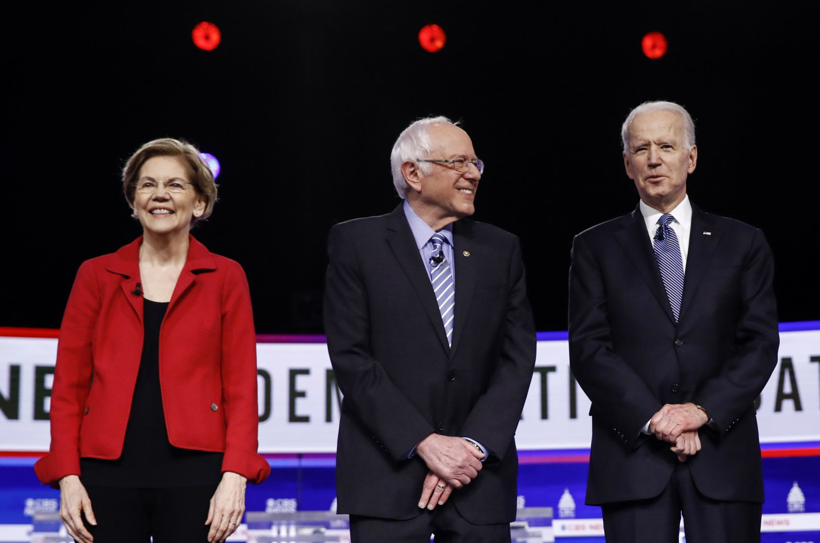 In this Feb. 25, 2020, file photo from left, Democratic presidential candidates participate in a Democratic presidential primary debate in Charleston, S.C. (AP Photo)