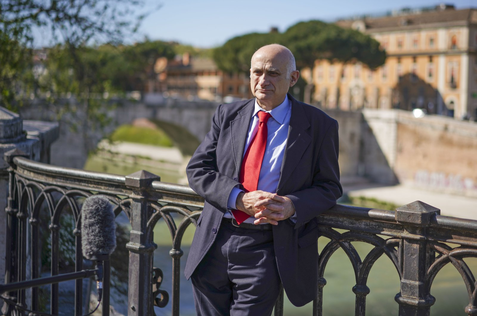 Spallanzani Hospital's scientific director, Giuseppe Ippolito, talks during an interview with The Associated Press, Rome, April 15, 2020. (AP Photo)