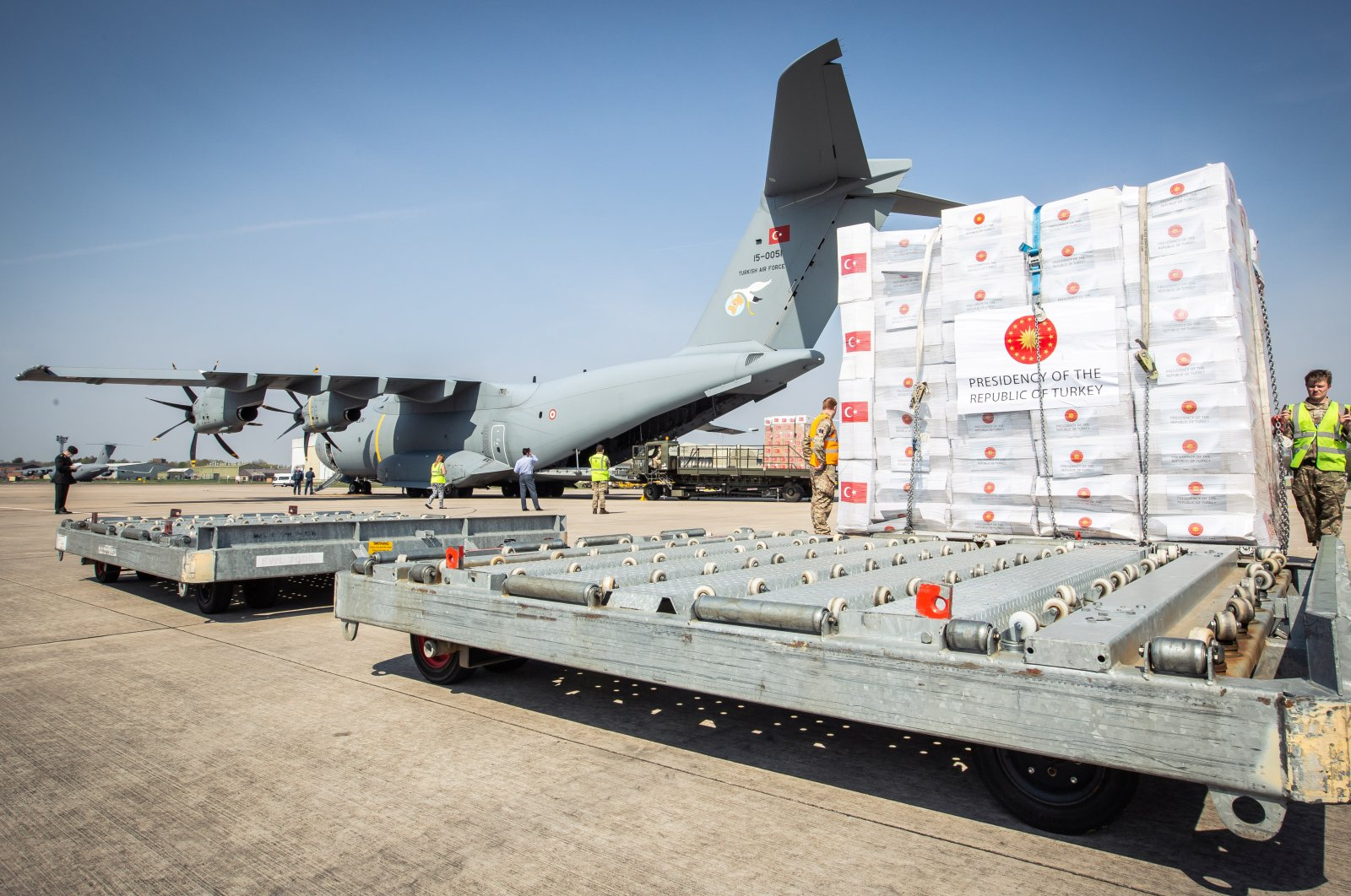 Crucial supplies of personal protective equipment (PPE) for medical staff are delivered from Turkey into a Royal Air Force base for distribution around the country, amid the coronavirus disease (COVID-19) outbreak, in Carterton, Britain, Friday, April 10, 2020.