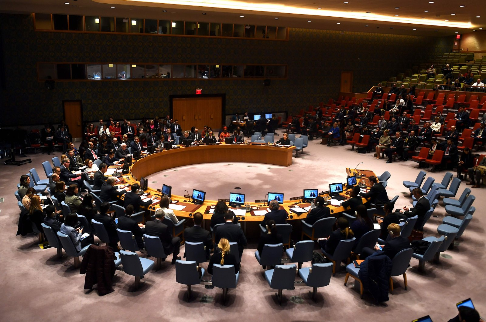 This Feb. 12, 2020, file photo, shows United Nations Security Council meeting at the U.N. headquarters in New York. (AFP Photo)