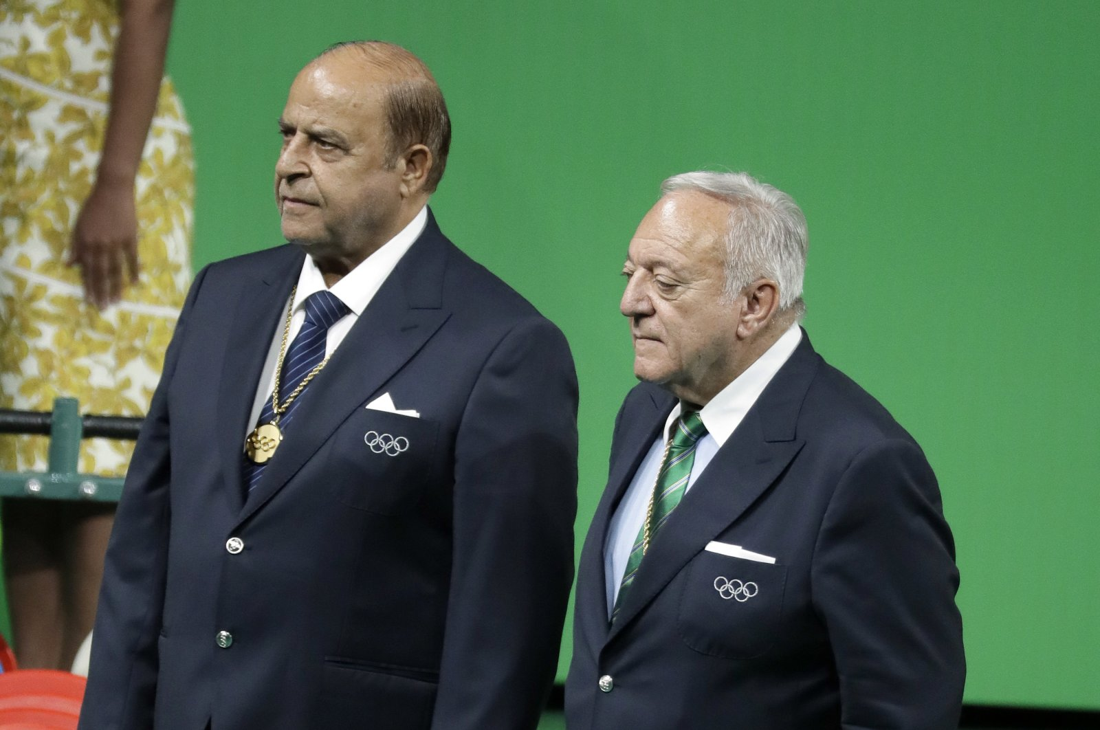 Tamas Ajan (R) and Samih Moudallal, a Syrian former weightlifter and current International Olympic Committee member, attend an awards ceremony at the 2016 Summer Olympics in Rio de Janeiro, Brazil, Aug. 16, 2016. (AP Photo)
