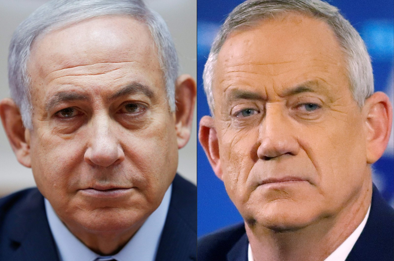 This combination of photos shows Israeli Prime Minister Benjamin Netanyahu attending the weekly Cabinet meeting at his office in Jerusalem on Dec. 9, 2018, and retired Israeli Gen. Benny Gantz attending a news conference in Tel Aviv, Israel, April 1, 2019. (AFP Photo)