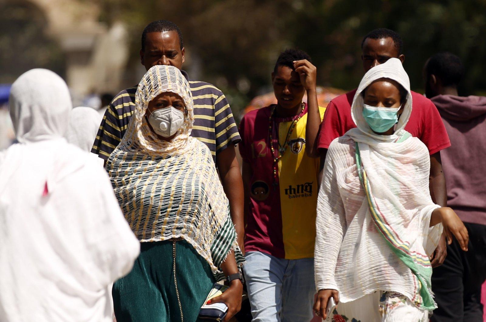 Ethiopian Christians go to churches to celebrate Easter amid the coronavirus outbreak, Addis Ababa, Ethiopia, April 13, 2020. (AA Photo)