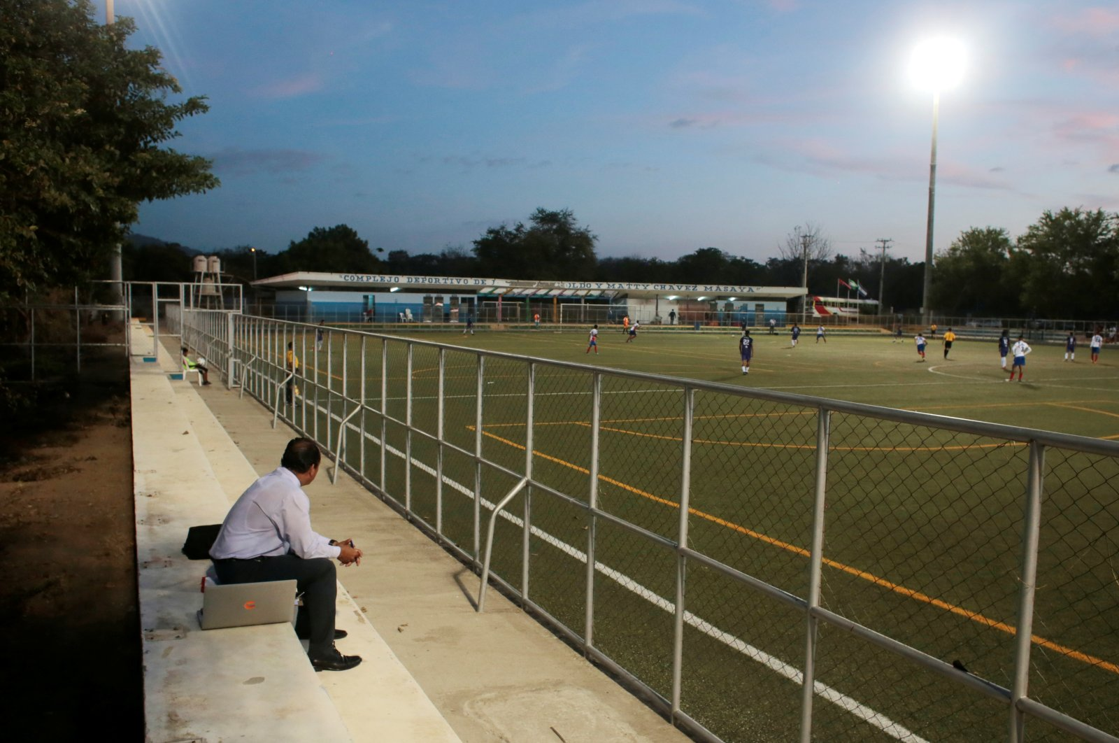 A fan watches a match between Juventus FC and Real Madriz FC in Liga Primera at Arnoldo Matty Chavez Stadium, Masaya, Nicaragua, April 11, 2020. (Reuters Photo)