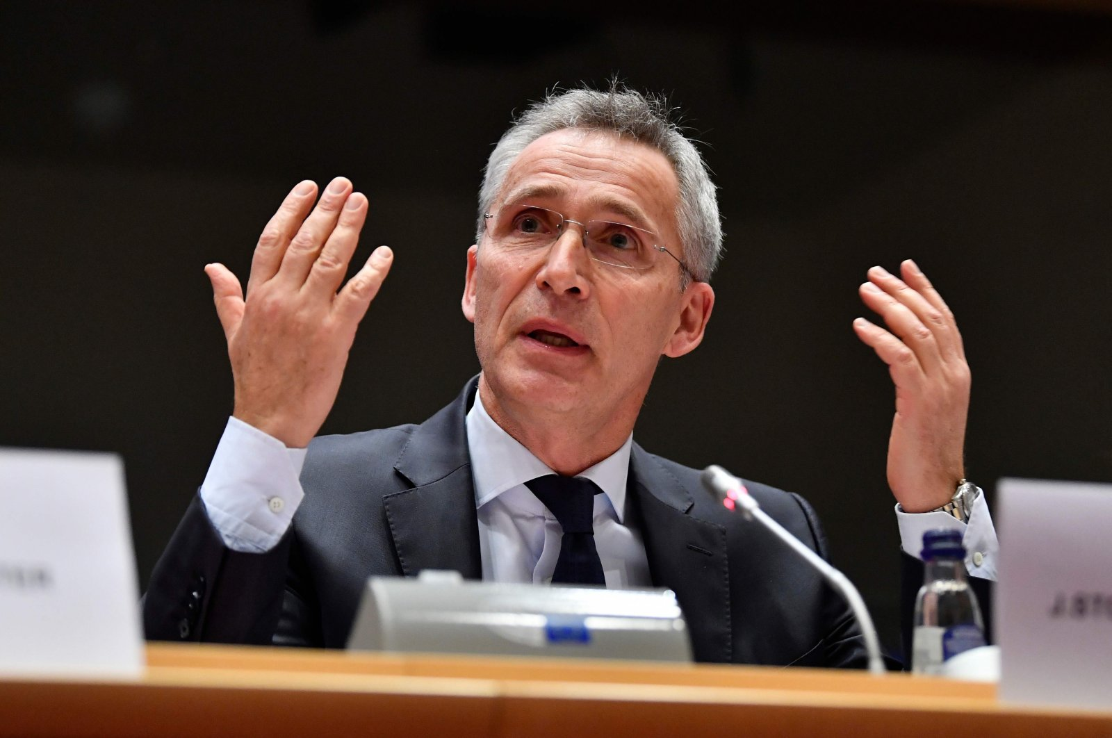 NATO Secretary-General Jens Stoltenberg addresses the European Parliament Committee on Foreign Affairs (AFET) and Subcommittee on Security and Defence (SEDE) at the EU headquarters in Brussels, Jan. 21, 2020. (AFP Photo)